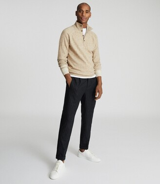 Reiss Aiden - Ribbed Funnel Neck Jumper in Oatmeal
