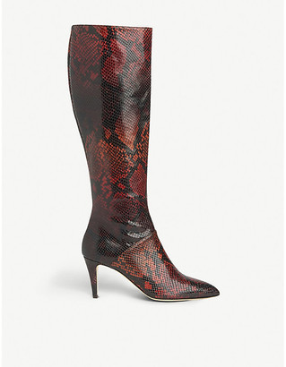 LK Bennett Gini snakeskin-embossed leather knee-high boots
