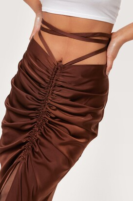 Nasty Gal Womens Ruched Satin Tie Waist Midi Skirt - Brown - 14