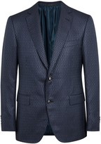 Pal Zileri Navy Zigzag Wool Blend Blazer
