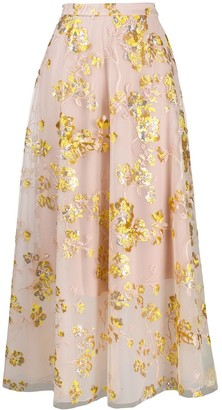 DELPOZO Embroidered Full Skirt