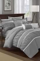 Aero Pleated & Ruffled 10-Piece Comforter Set - Grey
