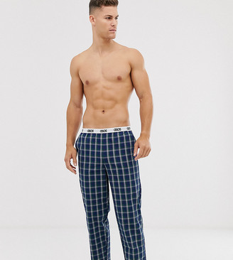 Asos Design DESIGN lounge pyjama bottom in navy and green check with branded waistband