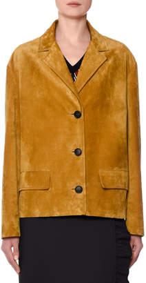 Prada Button-Front Suede Jacket