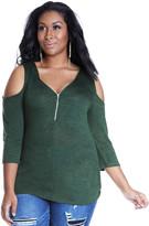 Fashion to Figure Cassia Cold Shoulder Zip Top