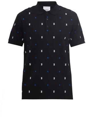 Burberry Elsford Star & Logo-embroidered Cotton Polo Shirt - Black