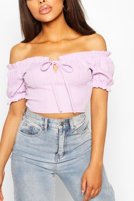 boohoo Bandage Peasant Crop Top
