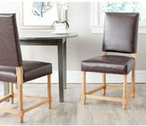 Safavieh Faxon Oak Bicast Leather Side Chair in Antique Brown (Set of 2)