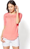 New York & Co. Lace-Trim Scoopneck T-Shirt