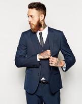 Asos Slim Fit Suit Trousers In Navy Pindot
