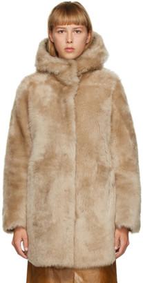Yves Salomon Tan Shearling Hooded Coat