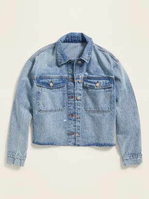 Old Navy Frayed-Hem Cut-Off Boyfriend Jean Jacket for Women