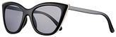 John Lewis Metal Edge Cat's Eye Sunglasses, Black/Grey
