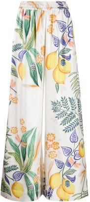 La DoubleJ Botanical print silk palazzo pants