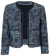 French Connection Palm Valley Embellished Jacket, Blue