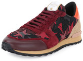 Valentino Rockrunner Star Camo-Print Trainer Sneaker, Red
