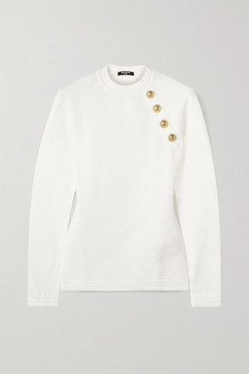 Balmain Button-embellished Jacquard-knit Sweater - White