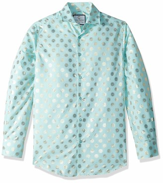 Azaro Uomo Men's Shiny Dress Shirt Wrinkle Free Casual Button Down Untucked