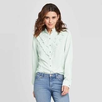 Universal Thread Women's Floral Print Ruffle Long Sleeve Henley Button-Down Shirt - Universal ThreadTM Green