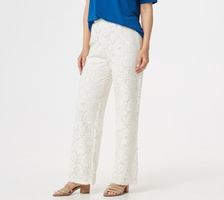 Linea by Louis Dell'Olio Petite Pull-On Full-Length Lace Pants