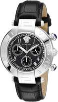 Versace Women's Q5C99D009 S009 New Reve Round Stainless Steel Leather Band Chronograph Date Watch