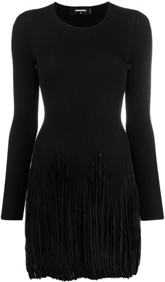 DSQUARED2 Ribbed Pleated Long-Sleeve Dress