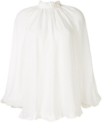 Zimmermann Gathered Neck Striped Blouse