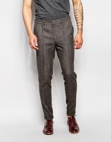 Asos Slim Smart Pants With Drawstring Waist In Brown Tweed