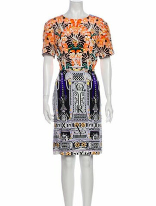 Mary Katrantzou Silk Knee-Length Dress Orange