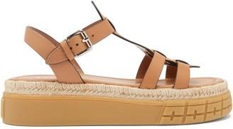 Prada Tyre-sole Leather Sandals - Tan