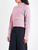 3.1 Phillip Lim Metallic-patch waffle-knit wool-blend jumper