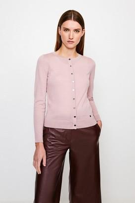 Karen Millen Merino Wool Button Through Cardigan