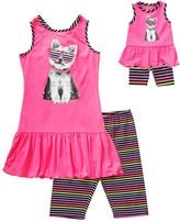 Dollie & Me Girls 4-14 Photoreal Dog Drop-Waist Dress & Striped Biker Shorts Set