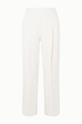 Oscar de la Renta Wool-blend Crepe Straight-leg Pants - Ivory
