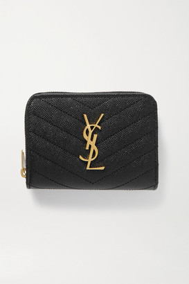 Saint Laurent Monogramme Quilted Textured-leather Wallet - Black