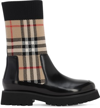 Burberry Check Leather & Rubber Boots