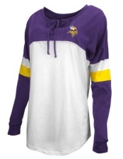 5th & Ocean Minnesota Vikings Women's Lace Up Long Sleeve T-Shirt