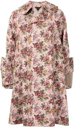 Comme Des Garçons Pre-Owned Floral Jacquard Double-Breasted Coat