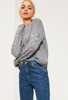 Missguided Grey Funnel Neck Cable Sleeve Sweater