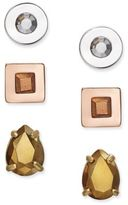 Kate Spade Tri-Tone 3-Pc. Set Crystal Stud Earrings