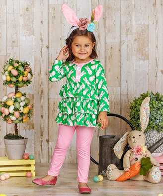 Mia Belle Girls Girls' Leggings Green - Green & Pink Bunny Tiered Ruffle Tunic & Leggings - Toddler & Girls