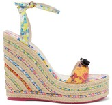 Sophia Webster Laurellie Floral-print Leather Wedge Sandals - Womens - Multi