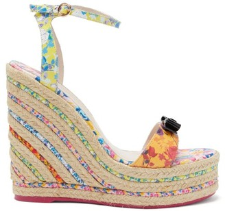 Sophia Webster Laurellie Floral-print Leather Wedge Sandals - Multi