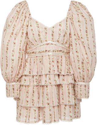 LoveShackFancy Astor Ruffled Floral-Print Cotton-Voile Mini Dress