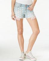 Tinseltown Juniors' Printed Cutoff Denim Shorts