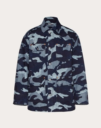Valentino Camouflage Pea Coat In Denim Jacquard Man Navy 100% Cotone 46