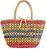 La Sera Daybreak Multicolor Straw Tote Bag, Neutral