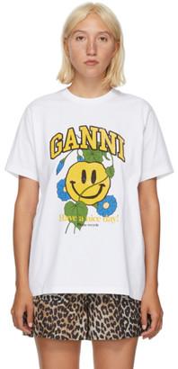 Ganni White Smiley Flower T-Shirt
