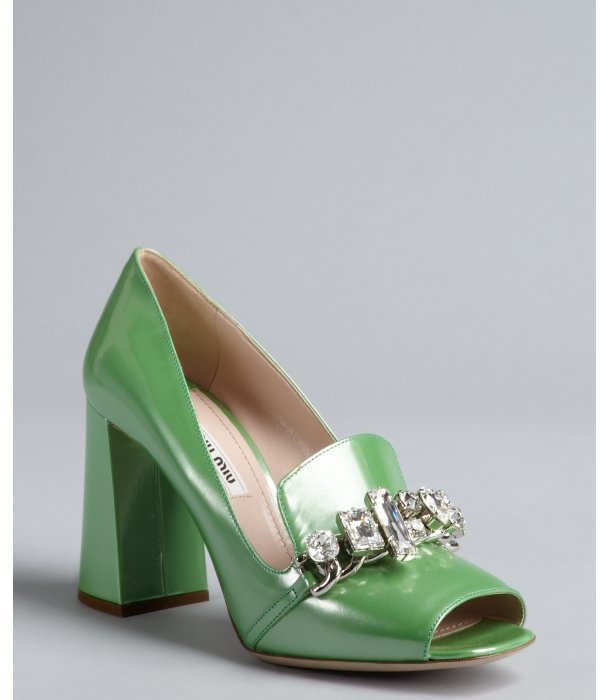 Miu Miu Emerald Patent Leather Jewel Embellished Loafer Pumps