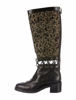 Chanel 2016 Interlocking CC Logo Riding Boots Black